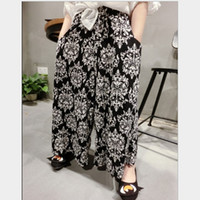 Wholesale Girls New Floral Pants New Arrival Children s Printed Pants Girls European T show Fashionable Wide Leg Pants Classical Chiffon Pants