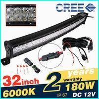Wholesale 32inch w LED Work Light Auto Car Working Lighting Driving Lamps Bar Cree Offroad Light Bar Curve Bar Light K Black Shell Combo Beam