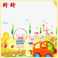 baby sports decor - bedroom decoration Removable Wall Stickers three generations wall stickers cartoon cute baby pig baby room decor green sticker AY9076