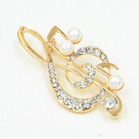 american detailing - Czech Crystals Musical Note Cut Brooch Gold Plated Wedding Bridal Bouquet Pin Cheap Factory Direct Sale Detailed Gift Broach