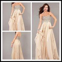 art delivery - 2016 Vestido Baile Fast Delivery Prom Dresses Champagne With Crystal Sweetheart FLoor Length Chiffon Evening Events Dress Custom Made Online