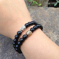 antique mala beads - SN0364 Men Buddhist bead bracelet Antique Silver Buddha Head Bracelet Black Stone Mala bracelets