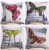 beautiful couches - beautiful butterfly cushion cover vintage country throw pillow case decorative euro european cojines capa de almofadas for sofa chair couch