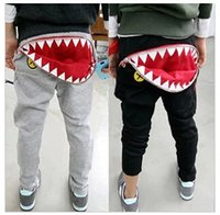 Wholesale Promotion Hot Sale New Fashion The Spring Autumn Kid Girls Boys Casual Shark Tooth Zip Cargo Pocket HIPHOP Blue Gray Harem Pants Sweatpants