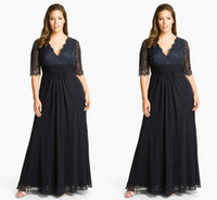 Wholesale 2014 Black Lace Chiffon Mother of The Bride Dresses Cheap Sale V Neck Sexy Sheer Half Long Sleeve Evening Party Gown