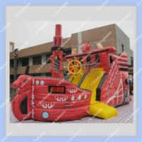 Wholesale DHL Deluxe Inflatable Pirate Ship Slide Large m ft Inflatable Boat Slide for Sale