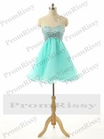Wholesale Strapless Silver Beaded Empire Waist Chiffon A Line Short Aqua Prom and Homecoming Dress for Cheap PR1004