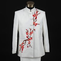 Cheap 2015 New Plum Flower Embroidery Wedding Suits Tuxedos For Men Suits With Pants Groom Suit White Suit Pants