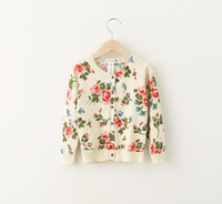 baby western clothing - Princess Babies Girls Floral Print Knitting Sweaters Cardigans Beige Color Western Cute Babies Casual Clothing Fall Jackets