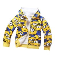 Wholesale Kids Cartoon Zipper Hoodies Despicable Me Boys Girls Jacket Children Cartoon Minions Hooded Coat Kids Clothing L0556D