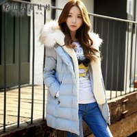 Wholesale Dabuwawa Lady s Sweet Elegant Sky Blue Thicken Bodycon Long Down with Fur Cap