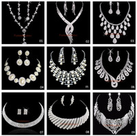 wedding jewelry - Fashion Silver Plated Necklace Earrings Sets Rhinestone Wedding Accessories luxury crystal pearls Bridal Jewelry Set
