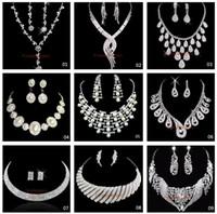 rhinestone bridal jewelry - Fashion Silver Plated Necklace Earrings Sets Rhinestone Wedding Accessories luxury crystal pearls Bridal Jewelry Set