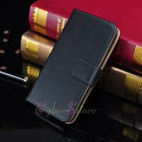 genuine leather wallet - For Galaxy S5 Real Genuine Leather Case Wallet Credit Card Slots Stand Flip Magnetic Cover For Samsung S5 i9600