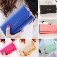 Wholesale Elegant Women Long Matte Leather Purse Ladies Clutch Wallet Credit Card Holder Handbag