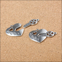 best friends jewlery - Sets MM Retro Heart Key Best Friend Charms Antique Silver Charm Alloy Pendant DIY Jewlery Making