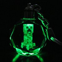 Minecrafts, Creeper keychain with rings - New LED Creeper Keychain Minecraft TNT Lawn Rotating Crystal Flash LED Light Keychain WITH GIFT BOX Fashion Handbag Key Ring Promotion Gift