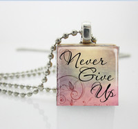aa vintage - Womens Necklace Fashion Encouragement Jewelry Never Give Up Necklace Vintage Wood Scrabble Tile Pendant AA