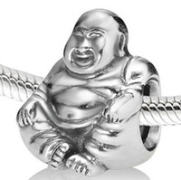 sterling silver beads - 925 Sterling Silver Buddha Beads Fit Pandora European Charms Bracelet Snake Chain Jewelry