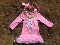 easter bunny - 2015 new baby girls pink white polka dot bunny Easter dress with necklace and headband set