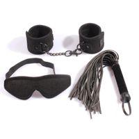 Wholesale Black bondage toys sex restraint kit handcuffs blindfold leather whip flogger velvet restrain sex toys adult product for couples