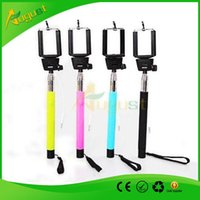 Wholesale Self timer Camera Tripod Mobile phone Extendable Monopod Ski Pole Handle With Cable Take Pole For Cell Phone Phone Samsung HTC