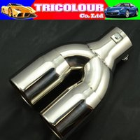 Wholesale Tricolor Muffler HK POST FREE MM Universal fit Stainless Steel Car Exhaust Muffler to End Pipe Dual tip LW03