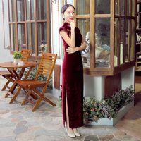 Wholesale Women solid color short sleeve velvet cheongsam female chinese traditional long cheongsam vintage long evening dress