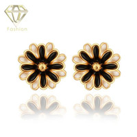 baked daisies - New Fashion K Rose White Gold Plated Baked Black Enamel Rhinestone Daisy Flower Stud Earrings Jewelry for Women