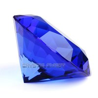 Wholesale 60mm Big Blue Crystal Diamond Cut Shape Paperweights Glass Gem Home Display