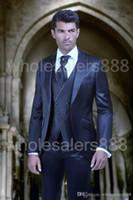best silk ties - 2016 Groom Tuxedos Groomsmen Shiny Navy Blue Peak Lapel Suit Best Man Bridegroom Wedding Prom Dinner Suits Jacket Pants Tie Vest K302