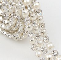 crystal craft - New MIC Yard Rows Clear Crystal Rhinestone Ribbon Diamond Pearl Wraps Sewing Craft Cake Dec Wedding Supplies