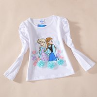 Girl Summer  baby girl kids long sleeve frozen shirt tops blouse elsa anna queen 3 rosette shirt cotton pajamas PJ'S cartoon princess puff sleeve tee 5