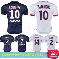 Wholesale PSG Home Away Football Shirts Camisa IBRAHIMOVIC T SILVA CAVANI DAVID LUIZ Soccer Jerseys Maillot De Foot