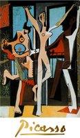 Oil Painting artwork dancers - Famous artwork Pablo Picasso oil Painting Reproduction Three Dancers c Hand painted High quality