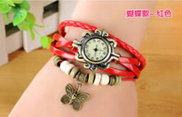 Wholesale 2015 Top Quality Women Leather Vine Bracelet Watch Wristwatches Wing butterfly Pandent Retro Watch