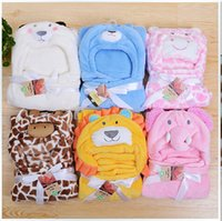 Wholesale 12style Windproof infant blankets pack blankets with a hood cloak blanket animal head small coral fleece wool blanket style