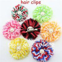 alligator brooch - Hot Sale Shabby Chiffon Printing Flower With Alligator Clip Brooch Kids Girls Hair Accessory Hair Clips