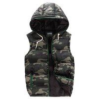 Wholesale Factory direct selling Green Camouflage Waistcoat Down Vest Sleeveless Coat warm Clothes Hooded Waistcoat Warm Vests Winter Casual Waistcoat