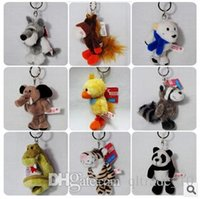bear pendent - 50pcs LJJC2588 Styles Cartoon Novelty Keyrings Animal Design Keychains Tiger Bear Dog Sheep Rabbit Monkey Zinc Alloy Ring Bag Pendent