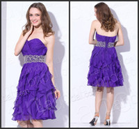 Wholesale 15 Off Customized Made Cocktail Party Dresses Charming Sheath Column Sweetheart Pleated Bodice Beaded Sash Layers Skirt Chiffon Party Dress