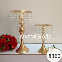 crystal candle holder - Tall gold mental Flower Stands Wedding Table Centerpieces for weddings decoration
