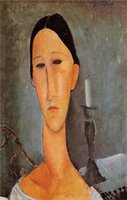 anna paintings - Portrait of Anna Zborowska Amedeo Modigliani Canvas Portrait Paintings Wall Art High quality Hand painted