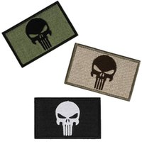 Wholesale Cool Motorcycle Badge Punisher Skulls USA Army Morale Armbands Shoulder Badge Double Side Embroidery Trim Patch Appliques Hot