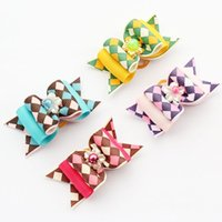 beauty supply stores - Armi store Handmade Color Plaid Ribbon Bows Pet Dog Beauty Supply Boutique Bow