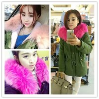 batting pads - Parkas For Women Winter Army Green Coat Large Fur Collar Thickening Cotton Padded Jacket Outerwear Female Snow Wear Brand