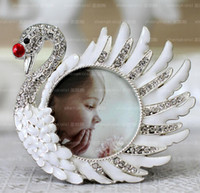 Wholesale White swan photo frame baby photo frame high quality with diamond picture frame gifts home decoration birthday gifts for kids