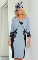 mother of the bride suits - 2015 Condici Lace Appliqued Mother Of The Bride Dresses Square Neckline Knee Length Formal Evening Dress With Jacket