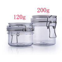 Wholesale 120g empty round plastic sealed tin containers with clip lids food jar pot containers storage mask cream container