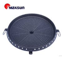 barbecue essentials - Korean barbecue dish pulse fresh portable smokeless non stick pan outdoor barbecue dish essential H Round